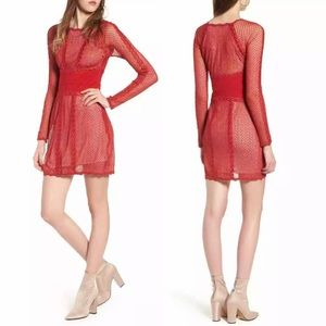 NWT Free People Mixed Mesh Lace Bodycon Dress